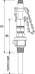 Line drawing of SAF-T-FLO EB-160 series standard service retractable injection quill showing relevant dimensions.