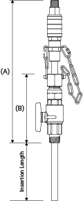 Line drawing of EB-163 series retractable injection quill with integrated check valve and quick disconnect coupling showing relevant dimensions.