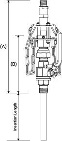 Line drawing of SAF-T-FLO EB-168 series retractable injection quill showing relevant dimensions.