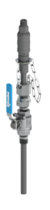 SAFTFLO EB-125 series retractable injection quill with integrated check valve and quick disconnect coupling in stainless steel valve variant.