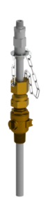 EB-146 series retractable injection quill with integrated check valve in brass valve variant.